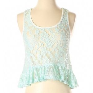 [5-15] TOBI sheer mint floral lace tank top